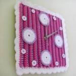 dekoratif örgü süslemeli saat