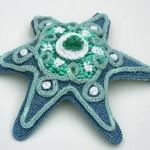 dekoratif örgüden deniz yıldızı süslemesi