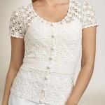fildişi düğmeli dantel bluz modeli