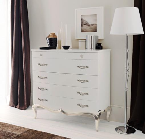 gümüş yaldız ayaklı çekmeceli beyaz büfe modeli