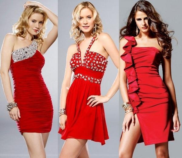 Kırmızı abiye elbise modeli