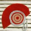 kırmızı kulaklıklı bağcıklı örgü çocuk şapkası