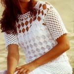 kolay örülebilen beyaz yazlık bluz örneği