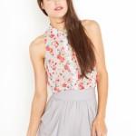 kolsuz çiçekli gömlek modeli