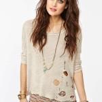krem yırtık triko bluz modeli