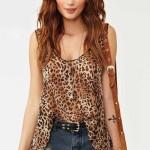 leopar baskılı şifon bluz örneği