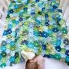 rengarenk çiçek motiflerle örgü bebek battaniyesi