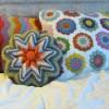 renkli örgü yastık örnekleri