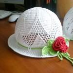 yazlık gül motifli şapka