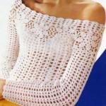 yazlık kayık yakalı  uzun kollu tığ işi bluz modeli