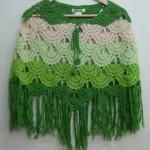 yeşil dalgalı tığ yapımı panço