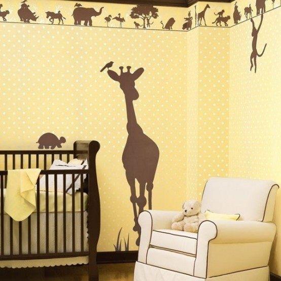 zürafa desenli duvar yapıştırması