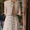 arkası açık marin düğmeli elbise