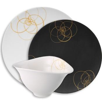 Siyah beyaz altın yaldız işlemeli tabak ve kase