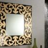 dekoratif siyah altın yaldız süslemeli kare şık ayna