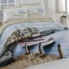 istanbul baskılı yatak örtüsü modeli