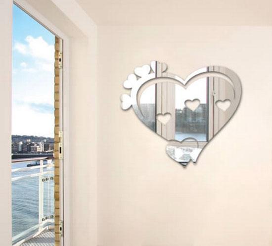 kalp stickers ayna dekorasyonları
