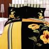 sarı siyah çiçekli nevresim modeli