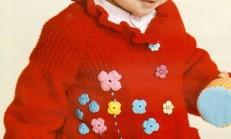 Kırmızı Renkli Çiçek Süslemeli Fırfırlı Çocuk Hırka Modeli