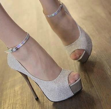 gümüş renkli parlaş platformlu bilekten bağlamalı ayakkabı ...
