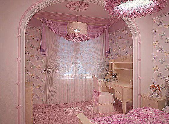 pembe dizayn edilmiş çocuk odası modeli