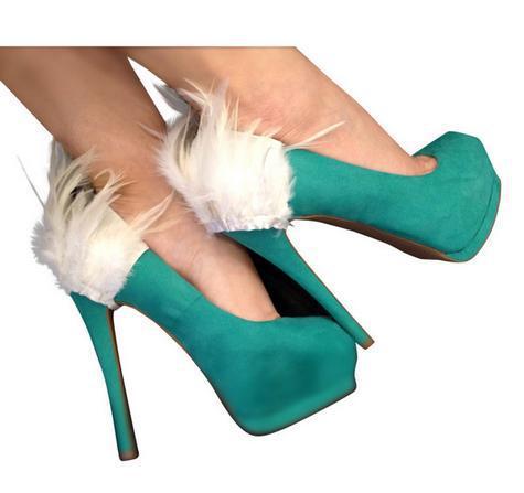 arkası tüy detaylı süet yeşil ayakkabı