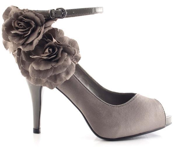 gri yanı çiçekli bilekten bağlamalı ayakkabı