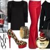 kırmızı topuk ve platformlu leopar desenli ayakkabı ve kombini