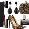 leopar desenli ayakkabı siyah elbise kombini
