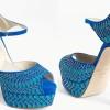 mavi ince boncuklu paltformlu ayakkabı