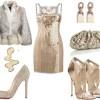 pudra renkli payetli elbise ve kombini