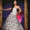 siyah beyaz desenli davet elbise modeli