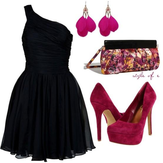 Siyah Bordo Elbise Ayakkabı Kombini