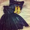 siyah saten elbise ve kombini