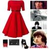 kırmızı kloş elbise kombin modeli