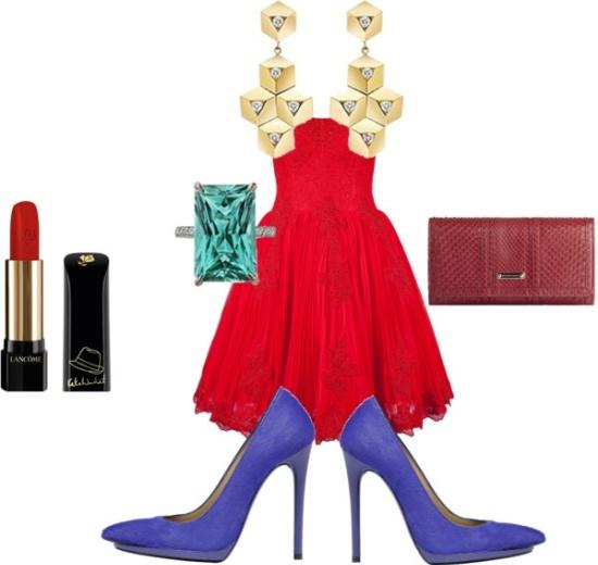 Kırmızı mini elbise ve kombini