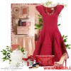 pembe kırmızı kloş elbise kombin modeli