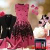 pembe siyah desenli şık kloş elbise kombin modeli