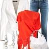 beyaz çanta ceket narçiçeği ayakkabı bluz kombini