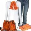 beyaz turuncu ve kot kombinleri