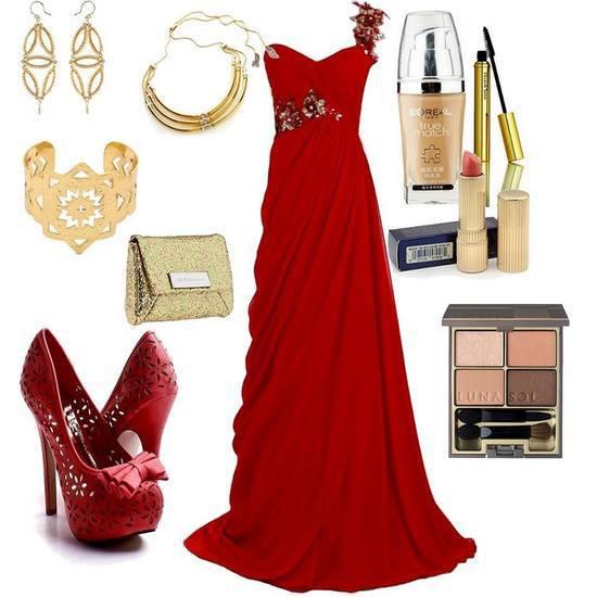 Kırmızı uzun elbise ve ayakkabı abiye kombin