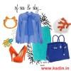mavi turuncu elbise kombin modeli