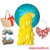 sarı ruffle elbise kombin modeli