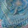 mavi beyaz tığ işi bebek battaniye ve patik