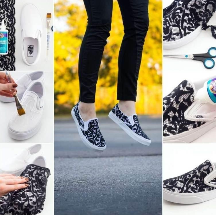 1 dantelli sneakers ayakkabı yapımı