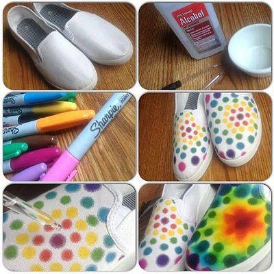 8 keçeli kalemle ayakkabı boyama