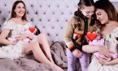 20 gün önce doğum yapan Meryem Uzerli kızlarının fotoğrafını paylaştı, beğeni yağdı