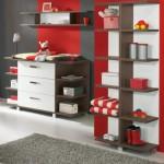 kırmızı çocuk oda kitaplık konsol
