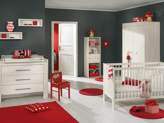 kırmızı beyaz bebek odası dekor