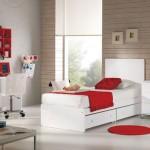 kırmızı beyaz sade genç  oda